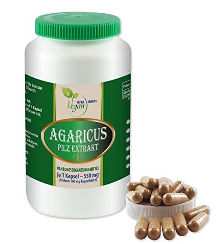 VITAIDEAL VEGAN® Agaricus Pilz Extrakt (Agaricus Blazei Murill, Mandelpilz) 60 pflanzliche Kapseln je 550mg, rein natürlich ohne Zusatzstoffe.