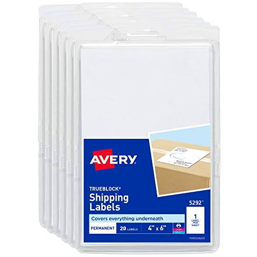 Avery Shipping Labels for Laser Printers, TrueBlock Technology, Permanent Adhesive, 4' x 6', 120 Labels (6-Pack 5292)