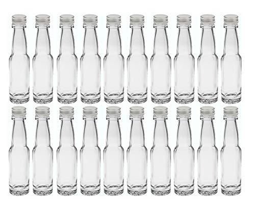 20 leere Mini Glasflaschen Lang 40 ml Silber Glasfläschchen kleine Flaschen incl. Schraubverschluss...