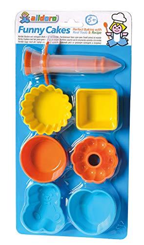 Alldoro Grappige cupcake bakvormen, 7-delig, 6 verschillende vormen en glazuurspuit van hittebestendig silicone, voor echt bakken