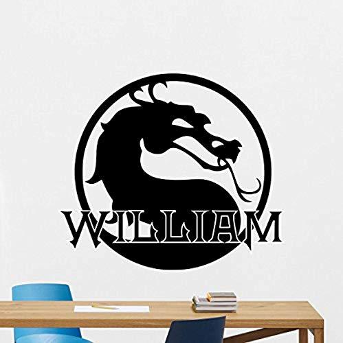 Custom Name Mortal Kombat Wall Decal Personalized Logo Dragon Emblem Movie Superhero Stencil Poster Comics Vinyl Sticker Movie Wall Art Kids Teen Boy Room Bedroom Wall Decor Mural 165RT (MK 4 Font)