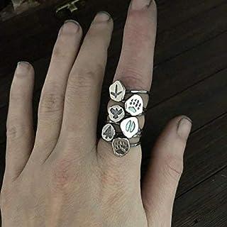 Paw Print Ring - Wolf, Raven, Deer, Bear - Shaman Jewelry