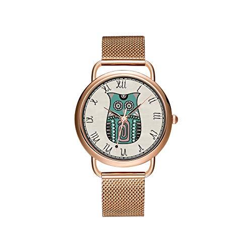 Frauen Uhren Marke Damen Mesh Gürtel ultradünne Uhr wasserdichte Uhr Quarzuhr Weihnachten bärtigen Collie Cartoon.png Armbanduhren