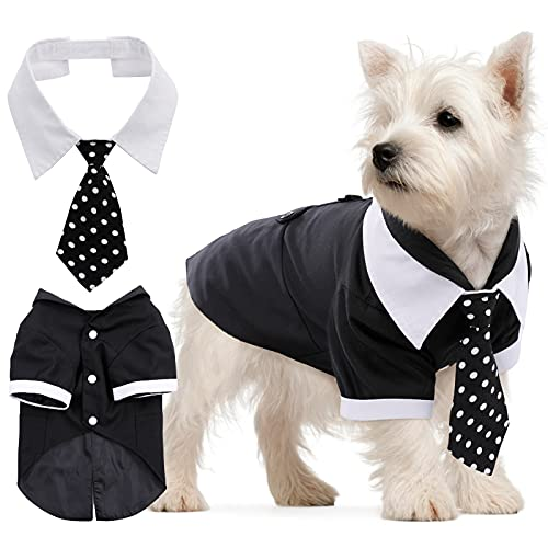 IDOMIK Dog Tuxedo Suit Formal Bow Tie Shirt  Wedding Party Suit Costume for Small Medium Dogs  Dog Prince Groom Tuxedo Vest Costume Dress Up Clothes Set with Detachable Tie for Wedding Party Holiday