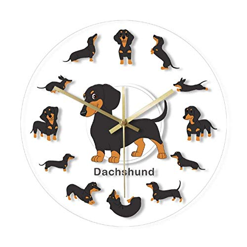 kyman Cartoon-Dackel-Druck-Wanduhr Wiener-Hundetierhunde Haustiere dekorative Wanduhr für Kinder-Hunde-Tierärzte-Geschenke-30x30cm