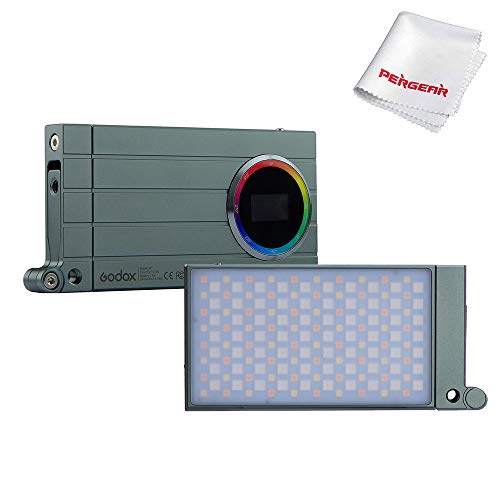 Godox M1 RGB Led Video Light, 13W 2500k-8500k Adjustable, 0-100% Stepless Dimming, CRI97 TLCT 97 RGB 0-360 Full Color, 15 Kinds Light Effects, OLED Display, with Aluminum Alloy Body (Green)