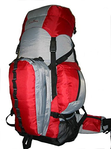 K-Cliffs Expandable Hiking Backpack Large 130LCamping Backpack Scout Daypack Aluminum Frame Sport Pack Outdoor Big Travel Bag, Red Grey