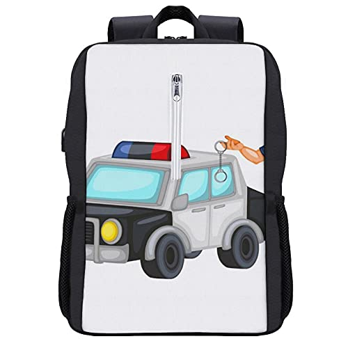 Travel Laptop Backpack,A Police Officer with A Police Car And Handcuffs Young Handsome Man Cartoon Policeman,Business Anti Theft Computer Bag Slim Durable with USB Charging Port