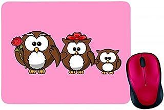 Alfombrilla para ratón con diseño de búhos, animales, pájaros, divertidos, familiares, padres, madres, niños, rosa, en neg...