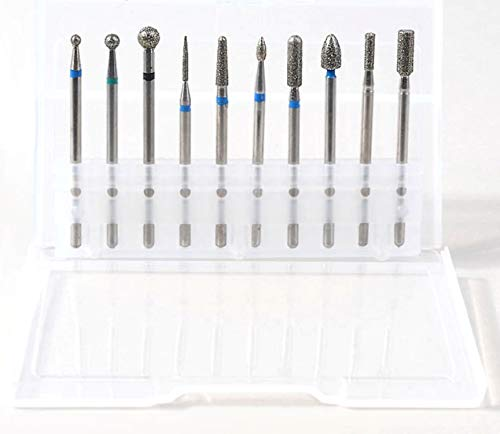 Set 10 Fresas de Diamante Profesional para Torno de uñas. Cutículas, Asperezas, Esmaltes Semipermanentes, Uñas Acrílicas y Uñas de Gel.