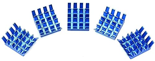 Easy to Repair Printer Accessories 5pcs Spiky Heatsinks Cooler Aluminum Blue with Adhesive Heat Sink for Cooling R-aspberry Pi 3/2 Model B 3D Printer Parts Durable
