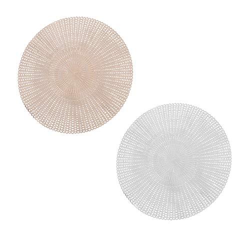 SOLUSTRE 2 Piezas de Posavasos Huecos de Mano de Ganchillo Tapete de Planta Redonda Posavasos Absorbentes Posavasos Resistentes Al Calor Platos Reutilizables para Bebidas Frías Copas de