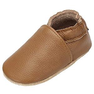 Primeros Pasos Zapatitos para Bebé Suave Cómoda Infantil Zapatos Respirable Antideslizante Suelas de Ante Zapatillas de Bebé Elástico Ligero Slippers, Marrón 18-24 Meses