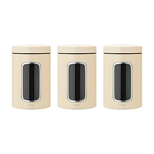 Brabantia 3 Piece Window Canister Set, 1.4 Litre, Almond
