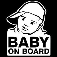 素敵なステッカー 13.8x17.2cmクールな赤ちゃん漫画全身装飾赤ちゃん面白い車のステッカー 車のステッカー (Color : White)