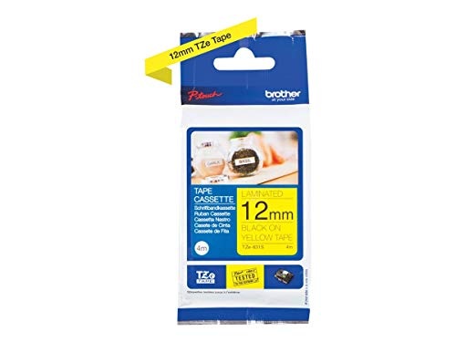 Brother Original P-touch Schriftband TZe-631S 12 mm, schwarz auf gelb (kompatibel u.a. mit Brother P-touch PT-H100LB/R, -H105, -E100/VP, -D200/BW/VP, -D210/VP) 4 m lang, laminiert