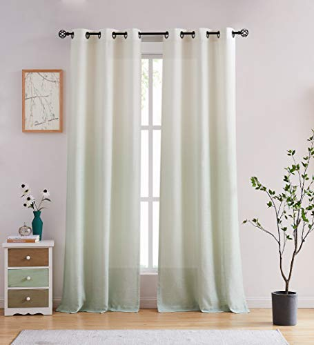 Central Park Ombre Rayon Blend Heavy Linen Texture Window Curtain Panel 6 Grommets Top Gradient Cream White to Lavender Purple Window Drapes Treatment for Living Room/Bedroom, Set of 2, 40' x 95'