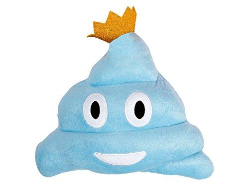 Kissen Kackhaufen bunt mit Krone Emoticon -Kissen Emoticon Poo Plüschkissen von Alsino, Variante wählen:Ki-66 blau