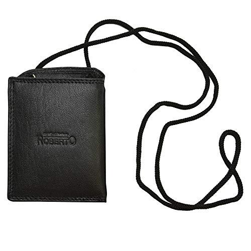 Echt Leder Brustbeutel von Roberto in Schwarz mit RFID Schutz (Nappa Leder schwarz)