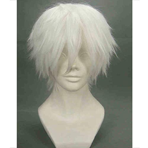 BERON Cool Men Short Straight Cosplay Costume Party Funny Wigs (White)