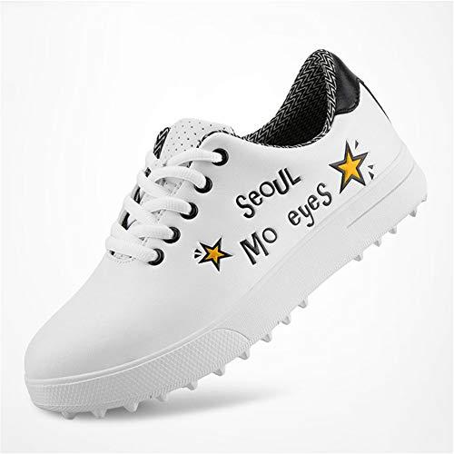 FJJLOVE Jungen Golf-Schuhe, Leder Wasserdicht Golfschuhe Anti-Skid Leichte Zufällige Turnschuhe Für Kinder Mädchen,Gelb,36