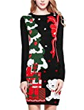v28 Ugly Christmas Sweater for Women Vintage Funny Merry Knit Sweaters Dress(Medium,Pink)