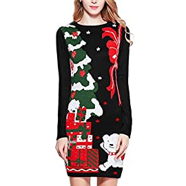 v28 Varied Ugly Christmas Sweater for Women Funny Reindeer Knit Sweaters Dress 5 Ugly Christmas Sweater for Women Dress Decorated with Happy Reindeer Santa Penguin elf cat dog Deer Snowman Made of Soft Acrylic Christmas Sweaters for Women Pullover Dress in XS S M L XL XXL XXXL 2XL 3XL Plus size Oversized Black Red White Pink Blue Green V28 Cute Christmas Sweaters for Women Pullover Dress Knit best present Gift for ladies Girls Family Wife