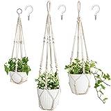Mkono 3 Pack Macrame Plant Hangers Indoor Different Size Hanging Planter Basket Flower Pot Holder with Beads No Tassels, Medium, Ivory