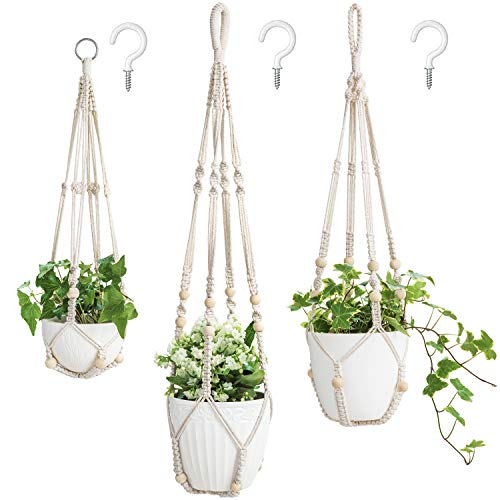 Mkono 3 Pack Macrame Plant Hangers Indoor Different Size Hanging...
