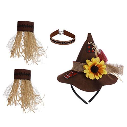 TOYANDONA Halloween Kostüm Strohhut Und Halskette Armband für Halloween Party Karneval Vogelscheuche Cosplay