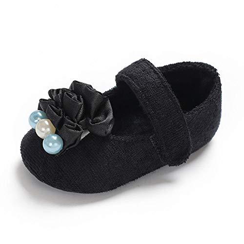 QINJLI babyschoenen, 0-1 peuterschoenen zachte vloerbedekking klittenbandsluiting bloem parels prinses schoenen 11-13 cm 13 cm A