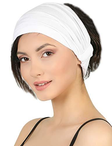 Deresina Elastisches dehnbares Stirnband, Haarband für Haarausfall (White)