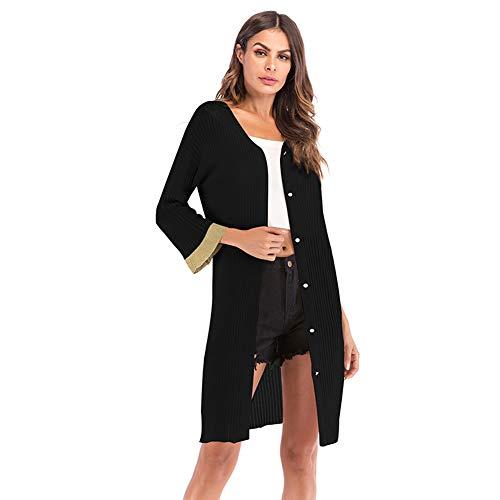YYH dames cardigan zomer sheer lichte lange mouwen voorste lange gebreide jas Kimono Medium wit