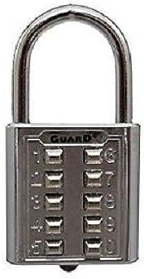 Ultra Hardware 55156 10 Digit Push Button Combination Padlock, 5 Digit Locking Mechanism, Chrome Plated