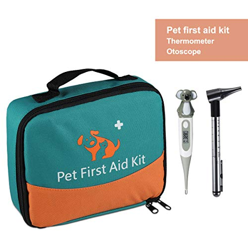 ONETWOTHREE Pet First Aid Kit for Dog, Cat, Rabbit and Other Animal,with Thermometer, Syringe, Otoscope, Perfect for Home Care and Outdoor Travel Emergencies
