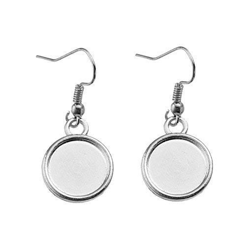 SiAura Material ® - 20 Stück (10 Paar) silberfarben Ohrringe Rohlinge, 15x34mm für 12mm Cabochons