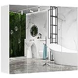 DICTAC Spiegelschrank Bad Hängeschrank mit Spiegel Badezimmer Wandschrank mit 3 Türen 70x60x15cm...