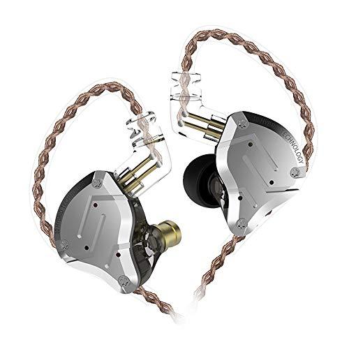 KZ ZS10 Pro Audifonos Auriculares In Ear híbridos 1 dinámicos y 4 equilibrados 1DD 4BA Auriculares Balanceados con Cable de 2 Pines para Músico(Negro no Mic)