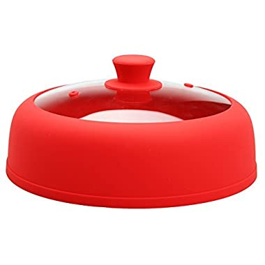 Microwave Plate Cover 10.5 Inch Dia 3.25 Inch Height For Food Glass Vented Red Plate Cover With Special Safe and Easy Grip Silicone Handle