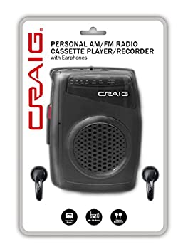 Craig Cs 2304 Personal Am/FM Radio Cassette Player/Recorder with Earphones CS304 Black