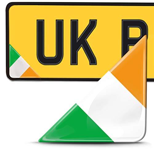 Biomar Labs 2 x 3D Pegatina Adhesivos Resinados para Placa de Matriculación Personalizadas Bandera de Irlanda para Coche Moto Remolque F 137