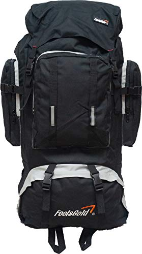 foolsGold Extra Large Hiking Travel Backpack Rucksack Top and Bottom Loading Black