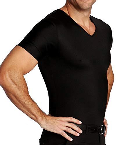 Insta Slim ISPRO Slimming V-Neck Short Sleeve Top Shapewear Compression Shirt for Men Black