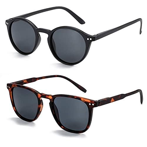 ZENOTTIC Gafas de sol polarizadas mujer y hombre: Retro Shades Round | Paquete de 2 protectores UV con marco cuadrado