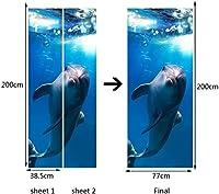 ホアスカッカー3DブルーシードルフィンポスターPVC防水ホールドアステッカーDIY壁画家の装饰自己接着ハンドメイド-90cm(W)* 200cm(H)-95x215厘米