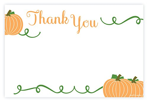 Pumpkin Fall Thank You Notecards (Non Folding) With Envelopes (20 Count)