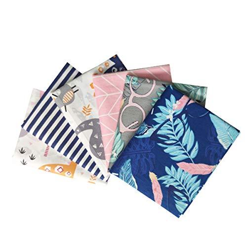 YXJDWEI 6 Stück Baumwollstoff Patchwork Stoffe DIY Gewebe Quadrate 100% Baumwolltuch Stoffpaket zum Nähen 46x56cm Mehrfarbig für Handarbeiten (Flamingo Sommer)