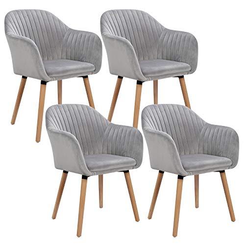 WOLTU 4er Set Esszimmerstühle Küchenstuhl Wohnzimmerstuhl Polsterstuhl Design Stuhl mit Armlehne Samt Massivholz Hellgrau BH95hgr-4
