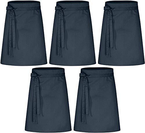 Lot de 5 bavoirs de qualité supérieure | 60x80cm | Tablier de taille de qualité supérieure pour homme et femme - Mélange innovant de coton et de polyester | 220 g m² (bleu marine)