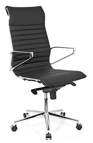 hjh OFFICE 720022 Profi Chefsessel PARIBA I Leder Schwarz Design-Stuhl Bürostuhl ergonomisch geformt, hohe Rückenlehne